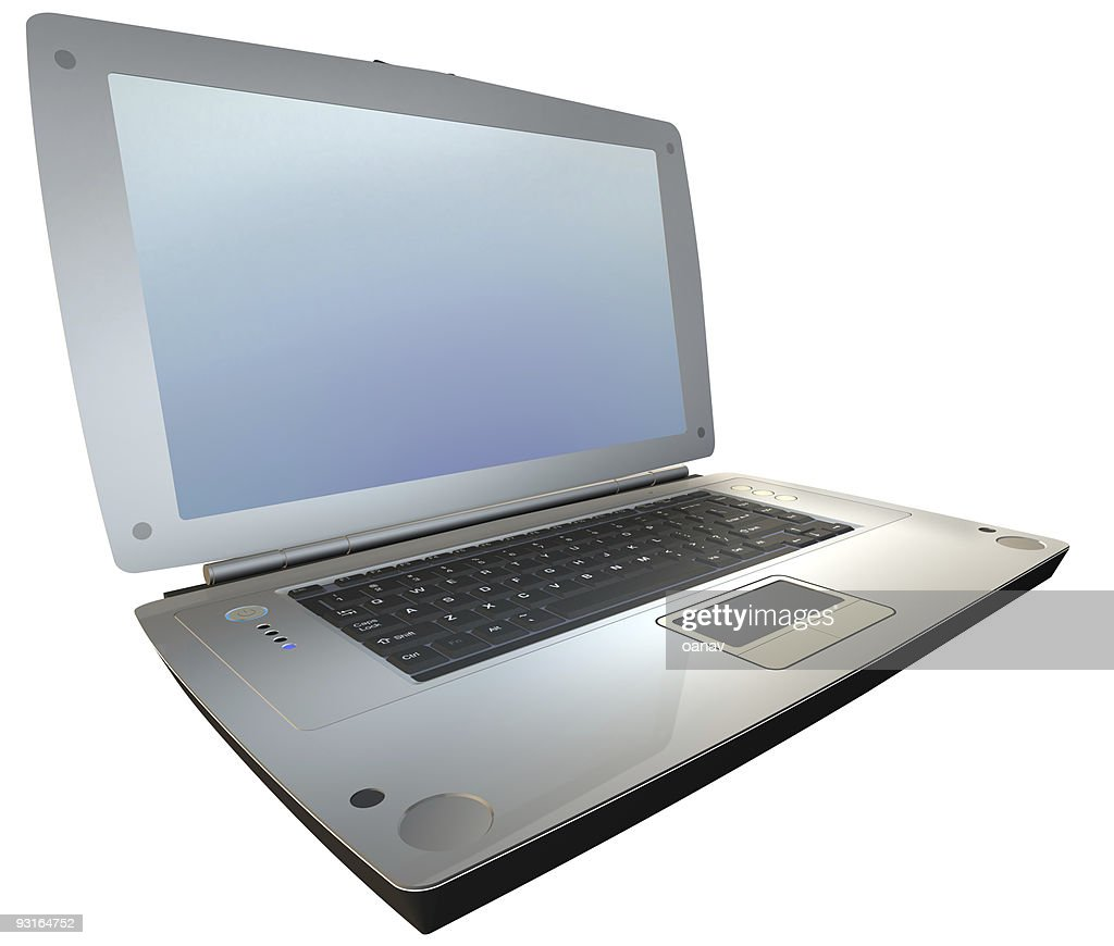 laptop on white - sideview : Bildbanksbilder