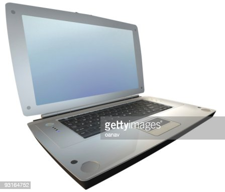 laptop on white - sideview : Stock Photo