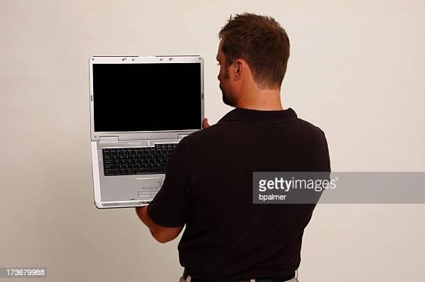 Computer portatile su una spalla
