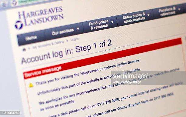 A laptop screen showing the website of stockbrokers Hargreaves Lansdown which experienced problems today due to the number of customers attempting to...