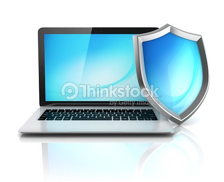 Laptop With Shield Internet Security Antivirus Or Firewall