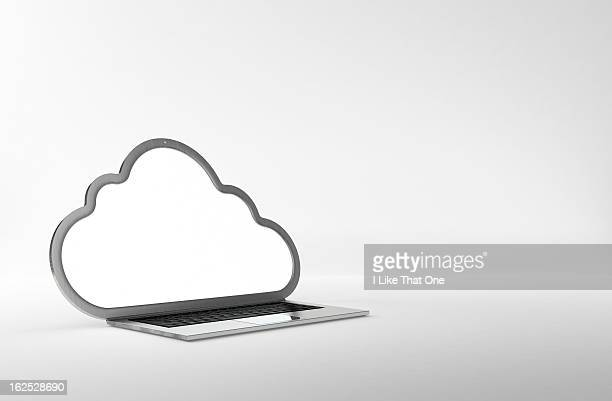 Laptop with the screen in the shape of a cloud
