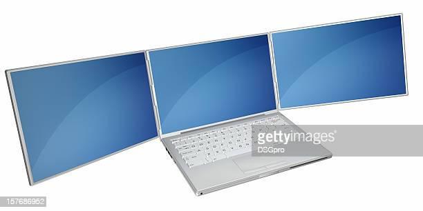 Ordinateur portable avec écran de trois