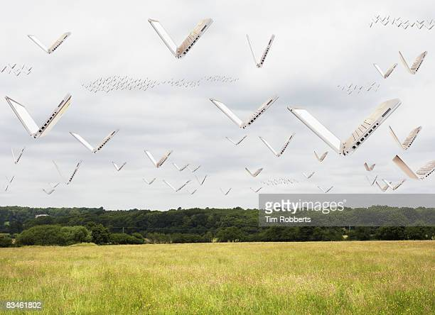 Laptops flying over field