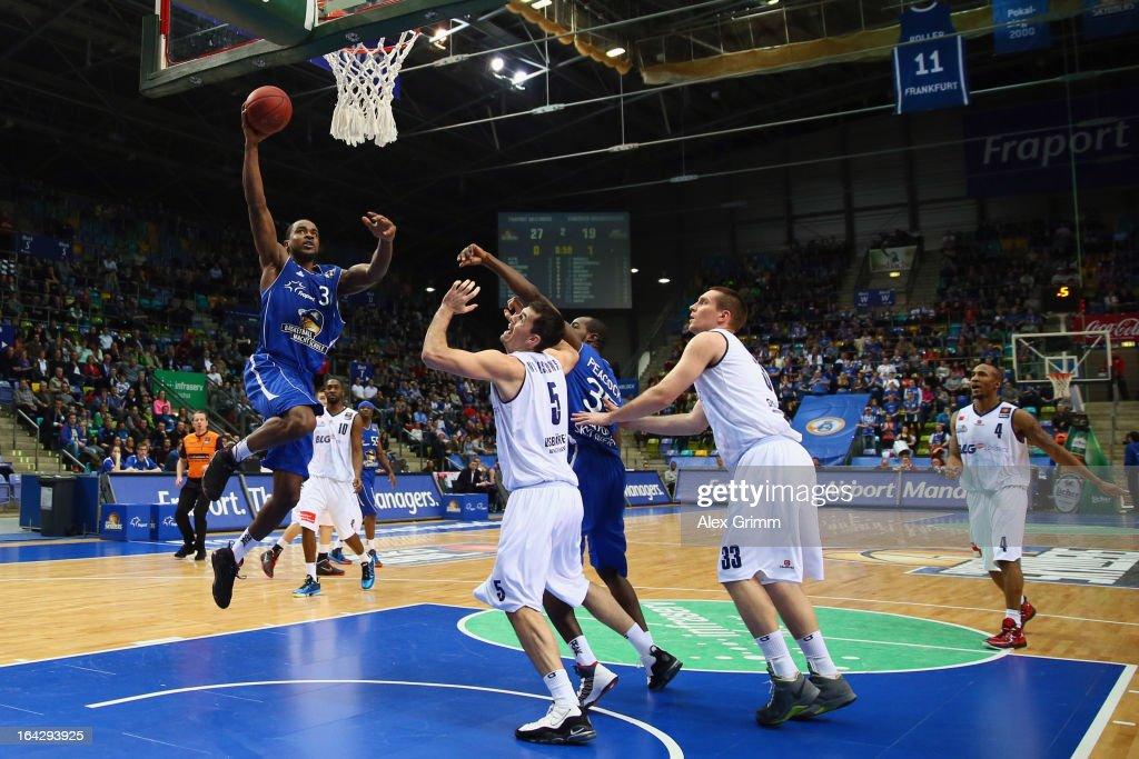 LaQuan Prowell of Skyliners tries to score during the Beko BBL match between Fraport Skyliners and Eisbaeren Bremerhaven at Fraport Arena on March 22...