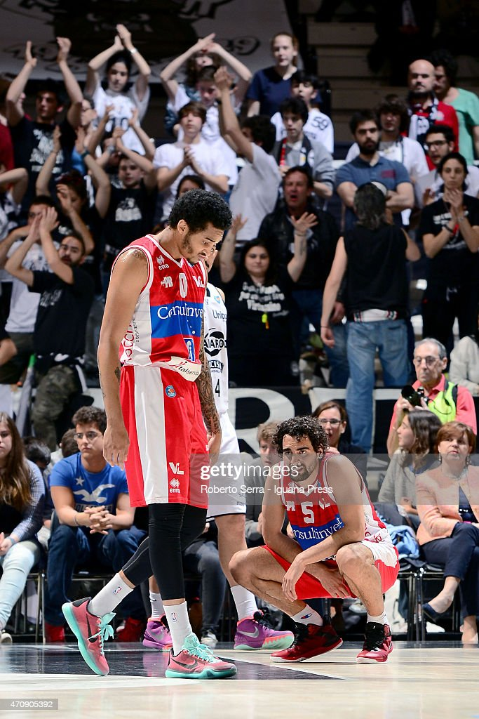 LaQuinton Ross and Bernardo Musso of Consultinvest regrettes during the LegaBasket match between Virtus Granarolo Bologna and Consultinvest Pesaro at...