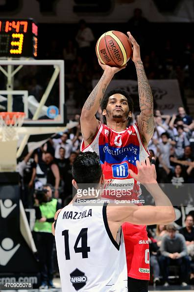 LaQuinton Ross of Consultinvest competes with Valerio Mazzola of Granarolo during the LegaBasket match between Virtus Granarolo Bologna and...