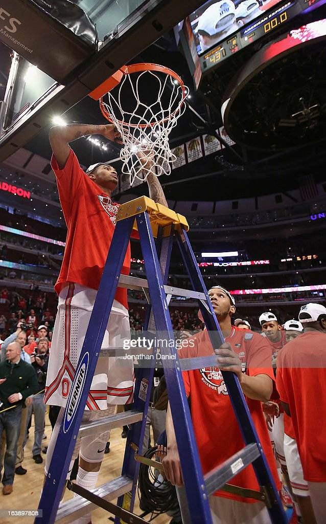 LaQuinton Ross #10 of the Ohio State Buckeyes cuts down the net after Buckeyes defeated the Wisconsin Badgers during the Big Ten Basketball Tournament Championship game at United Center on March 17, 2013 in Chicago, Illinois. Ohio State defeats Wisconsin 50-43.