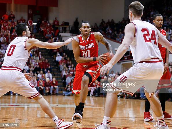 LaQuinton Ross of the Ohio State Buckeyes drives to the basket during the game against the Indiana Hoosiers at Assembly Hall on March 2 2014 in...