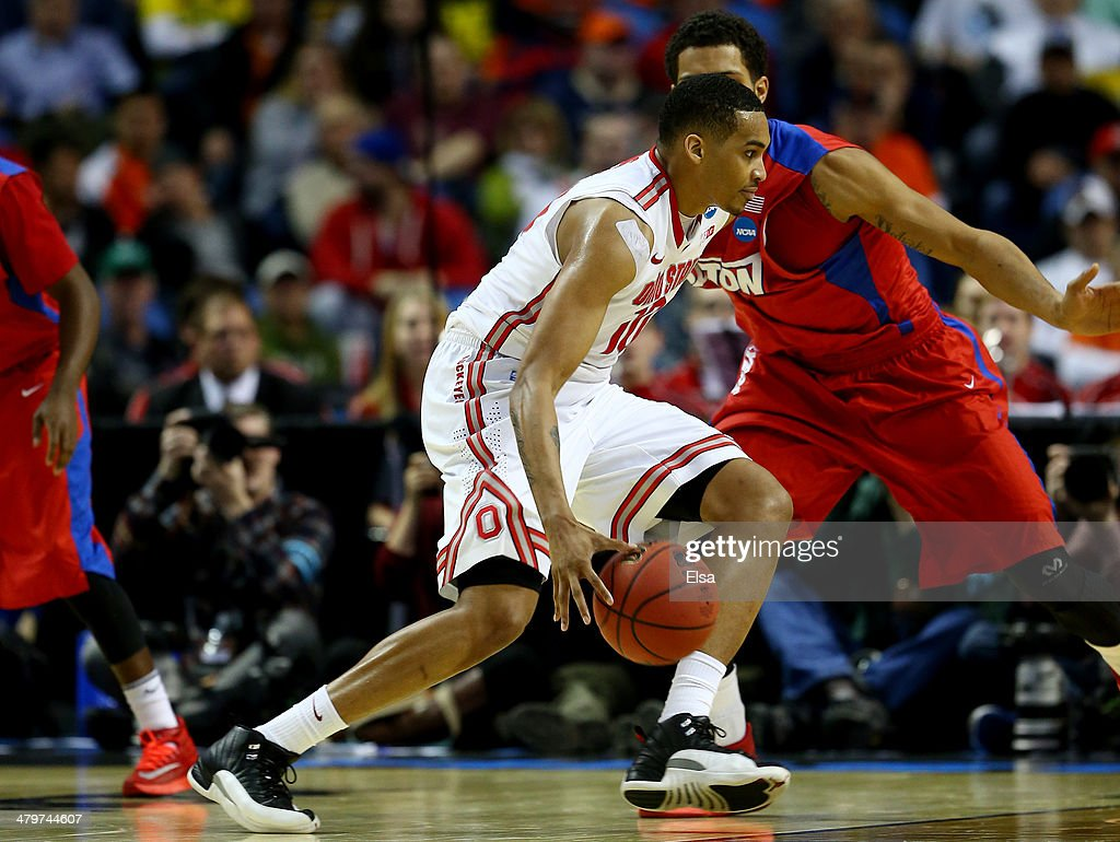 LaQuinton Ross of the Ohio State Buckeyes drives to the basket against the Dayton Flyers during the second round of the 2014 NCAA Men's Basketball...