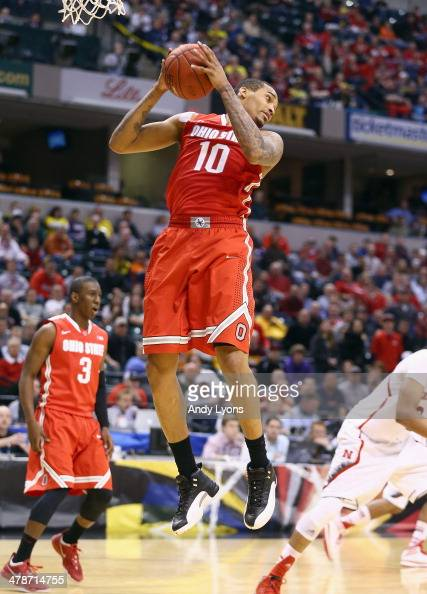 LaQuinton Ross of the Ohio State Buckeyes grabs a rebound in the game against the Nebraska Cornhuskers during the Quarterfinals of the Big Ten...