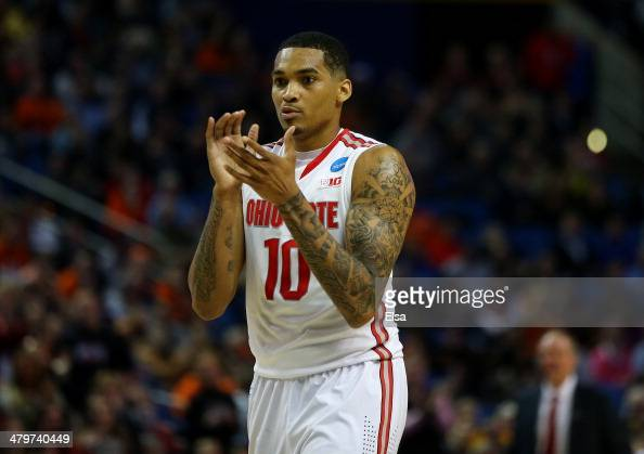 LaQuinton Ross of the Ohio State Buckeyes reacts after a foul is called against the Dayton Flyers during the second round of the 2014 NCAA Men's...