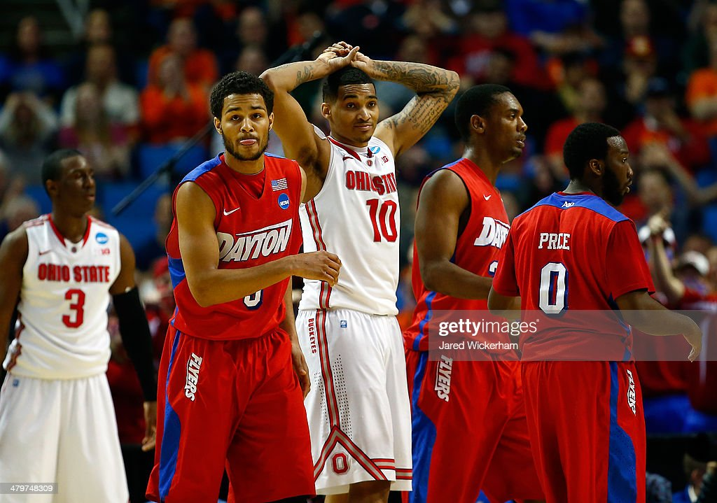 LaQuinton Ross of the Ohio State Buckeyes reacts after fouling Devin Oliver of the Dayton Flyers during the second round of the 2014 NCAA Men's...