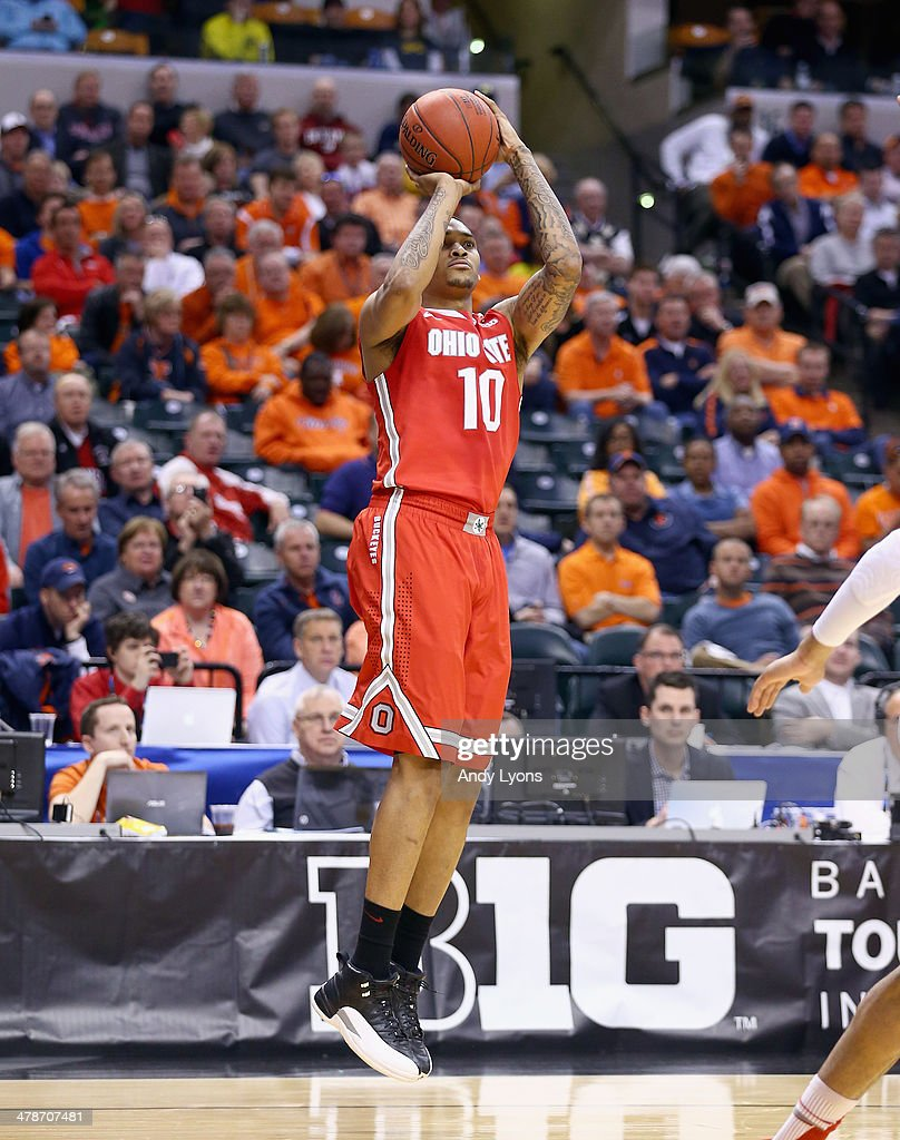 LaQuinton Ross of the Ohio State Buckeyes shoots the ball in the game against the Nebraska Cornhuskers during the Quarterfinals of the Big Ten...