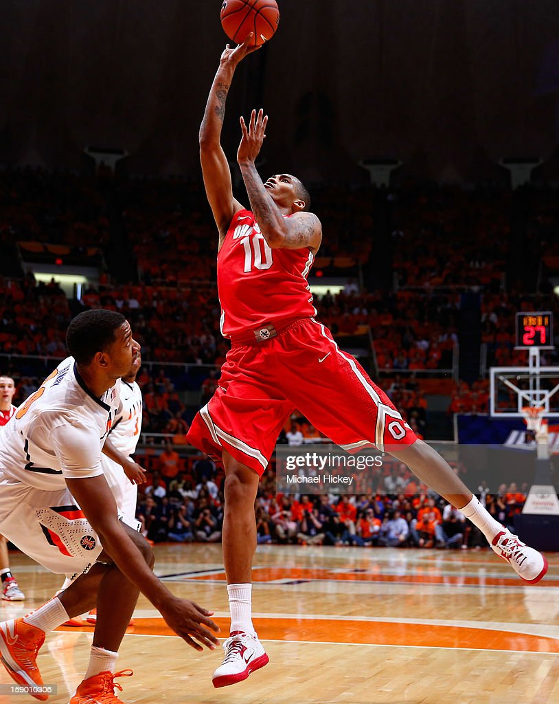 LaQuinton Ross #10 of the Ohio State Buckeyes shoots the ball over Myke Henry #20 of the Illinois Fighting Illini at Assembly Hall on January 5, 2013 in Champaign, Illinois. Ilinois defeated Ohio State 74-55.