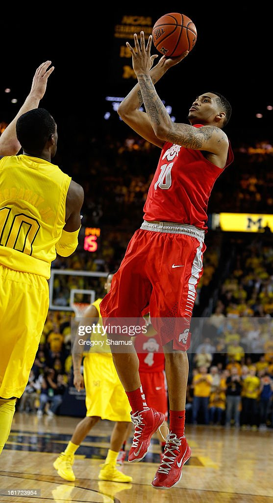 LaQuinton Ross #10 of the Ohio State Buckeyes takes a shot against the Michigan Wolverines at Crisler Center on February 5, 2013 in Ann Arbor, Michigan. Michigan won the game 76-74 in overtime.