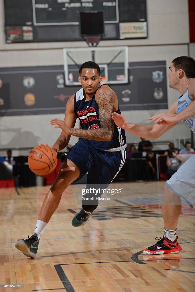 LaQuinton Ross of the Washington Wizards handles the ball against the Denver Nuggets on July 17 2015 at Cox Pavilion in Las Vegas Nevada NOTE TO USER...