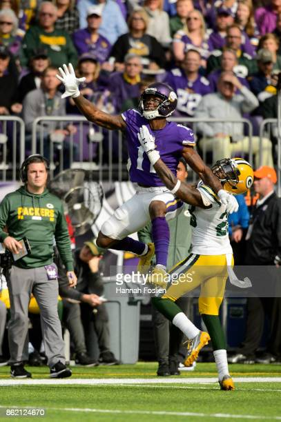 Laquon Treadwell of the Minnesota Vikings goes for a reception against Josh Hawkins of the Green Bay Packers during the game on October 15 2017 at US...