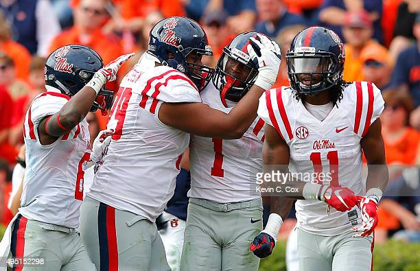 Laquon Treadwell of the Mississippi Rebels celebrates a touchdown reception against the Auburn Tigers at JordanHare Stadium on October 31 2015 in...