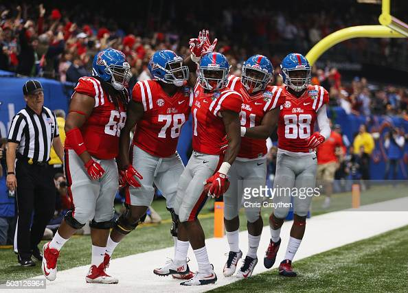 Laquon Treadwell of the Mississippi Rebels celebrates a touchdown against the Oklahoma State Cowboys during the second quarter of the Allstate Sugar...