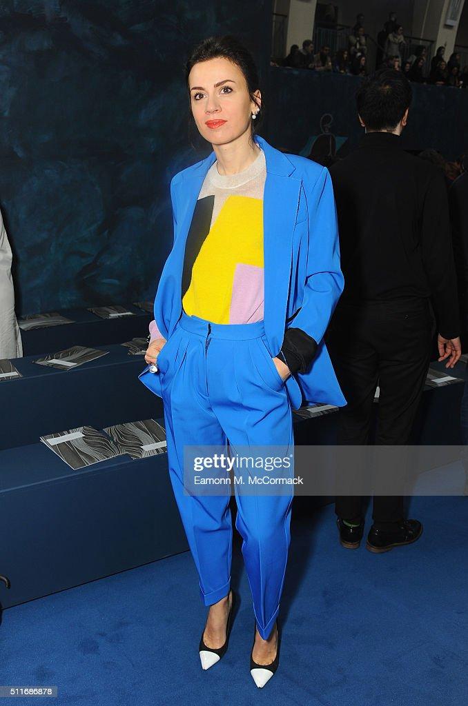 Lar Bohinc attends the Roksanda show during London Fashion Week Autumn/Winter 2016/17 at on February 22, 2016 in London, England.