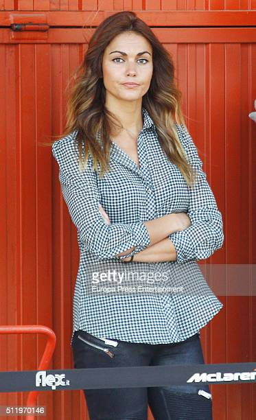 Lara Alvarez girlfriend of McLaren Honda's Spanish driver Fernando Alonso is seen at the Circuit de Catalunya in Montmelo on the second test day of...