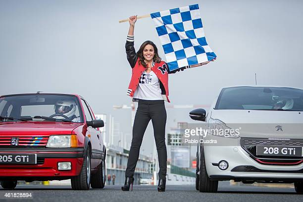 Lara Alvarez presents the new 'Peugeot 208 GTI' to celebrate it's 30th anniversary at the Jarama racetrack on January 20 2015 in Madrid Spain