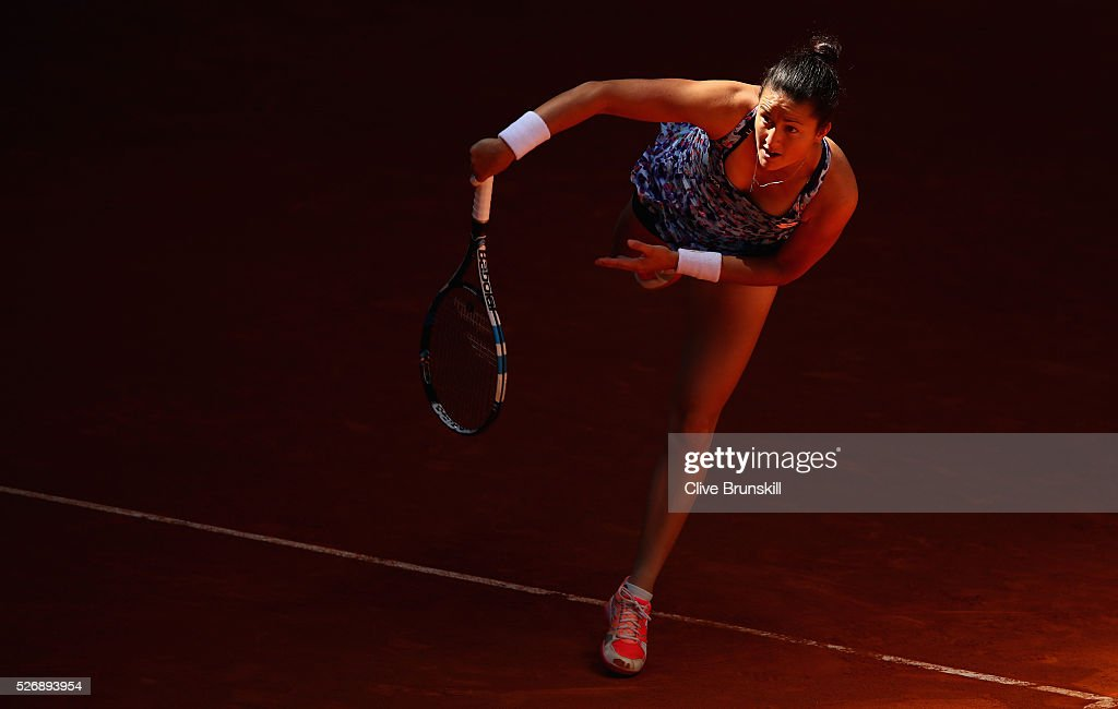 Lara Arruabarrena of Spain in action against Petra Kvitova of the Czech Republic in their first round match during day two of the Mutua Madrid Open tennis tournament at the Caja Magica on May 01, 2016 in Madrid,Spain