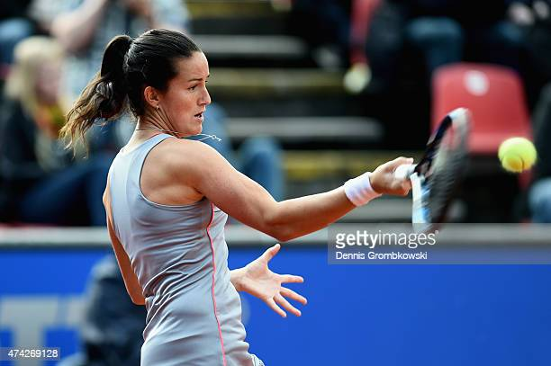 Lara Arruabarrena of Spain plays a forehand in her match against Carina Witthoeft of Germany during Day six of the Nuernberger Versicherungscup 2015...
