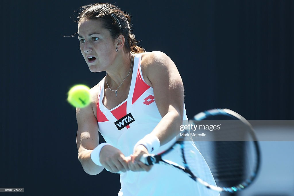 Lara Arruabarrena Vecindo of Spain plays a backhand in her qualifying singles match with Yulia Putintseva of Kazakhstan during day three of the Hobart International at Domain Tennis Centre on January 6, 2013 in Hobart, Australia.