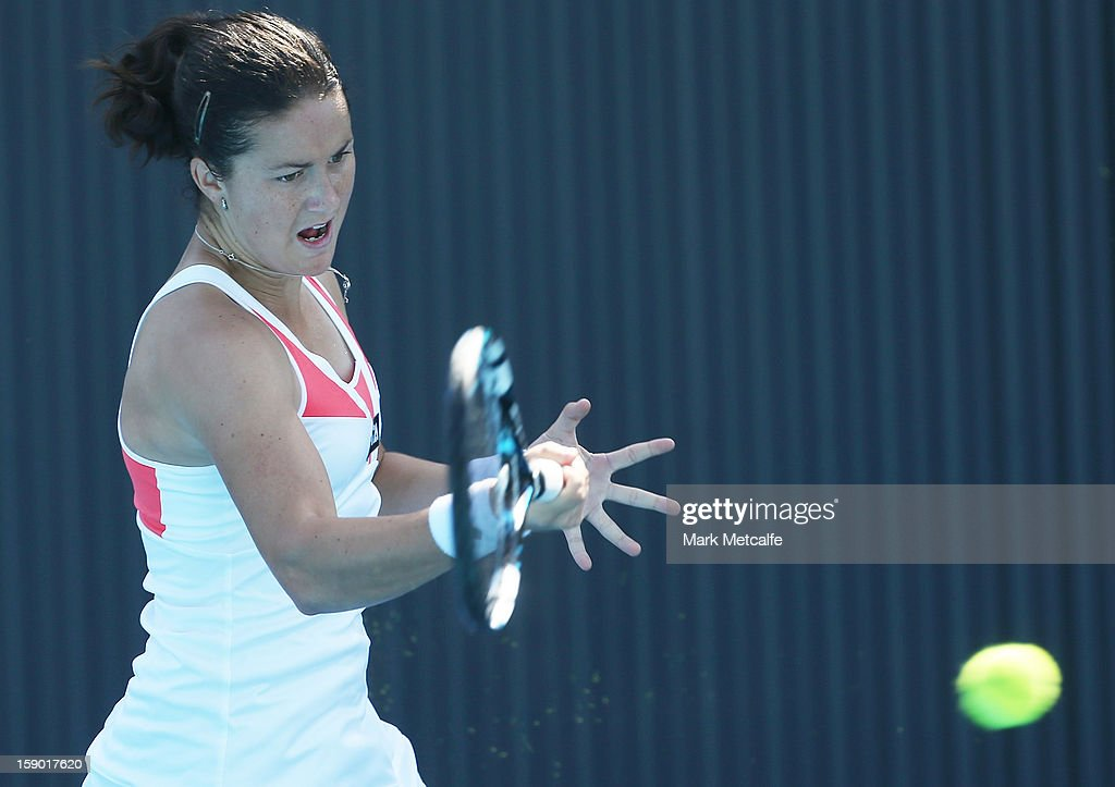 Lara Arruabarrena Vecindo of Spain plays a forehand in her qualifying singles match with Yulia Putintseva of Kazakhstan during day three of the Hobart International at Domain Tennis Centre on January 6, 2013 in Hobart, Australia.