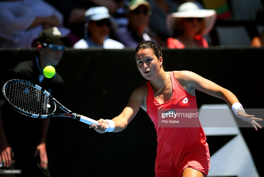 Lara Arruabarrena-Vecino of Spain plays a forehand in her first round match against Yaroslava Shvedova of Kazakhstan during day two of the 2013 ASB Classic on January 1, 2013 in Auckland, New Zealand.