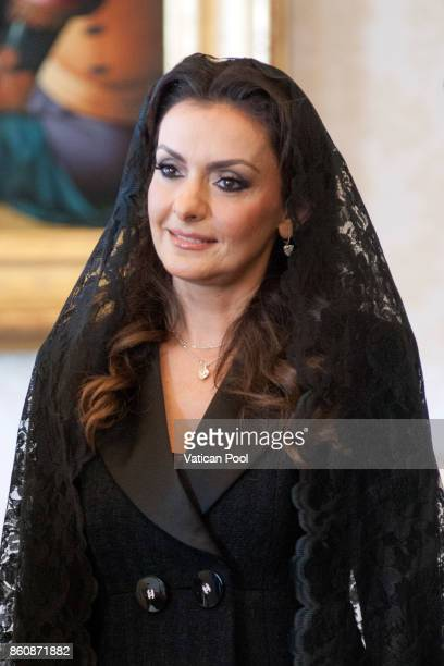 Lara Bashir El Alzem wife of Lebanon Prime Minister Saad Hariri attends a private audience with Pope Francis at the Apostolic Palace on October 13...