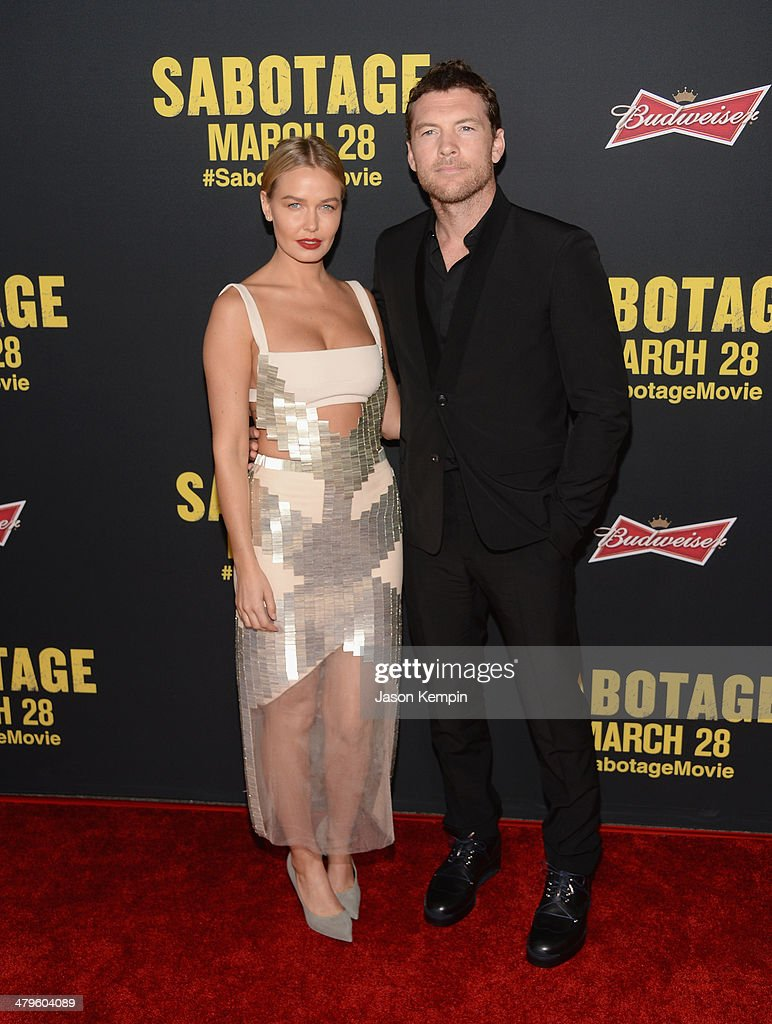 <a gi-track='captionPersonalityLinkClicked' href=/galleries/search?phrase=Lara+Bingle&family=editorial&specificpeople=553554 ng-click='$event.stopPropagation()'>Lara Bingle</a> and actor <a gi-track='captionPersonalityLinkClicked' href=/galleries/search?phrase=Sam+Worthington&family=editorial&specificpeople=2594426 ng-click='$event.stopPropagation()'>Sam Worthington</a> attend the premiere of Open Road Films' 'Sabotage' at Regal Cinemas L.A. Live on March 19, 2014 in Los Angeles, California.