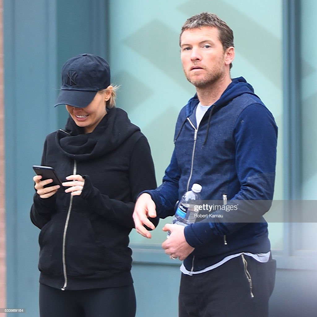 <a gi-track='captionPersonalityLinkClicked' href=/galleries/search?phrase=Lara+Bingle&family=editorial&specificpeople=553554 ng-click='$event.stopPropagation()'>Lara Bingle</a> and hushand <a gi-track='captionPersonalityLinkClicked' href=/galleries/search?phrase=Sam+Worthington&family=editorial&specificpeople=2594426 ng-click='$event.stopPropagation()'>Sam Worthington</a> seen walking together on May 24, 2016 in New York City.