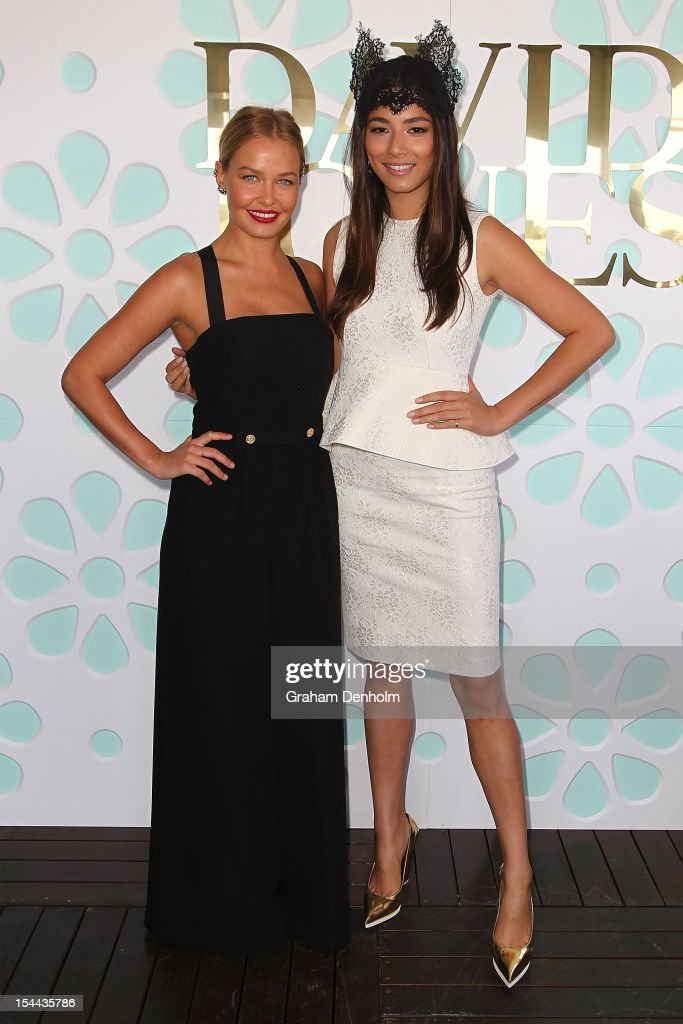 Lara Bingle (L) and Jessica Gomes attend Caulfield Cup Day at Caulfield Racecourse on October 20, 2012 in Melbourne, Australia.