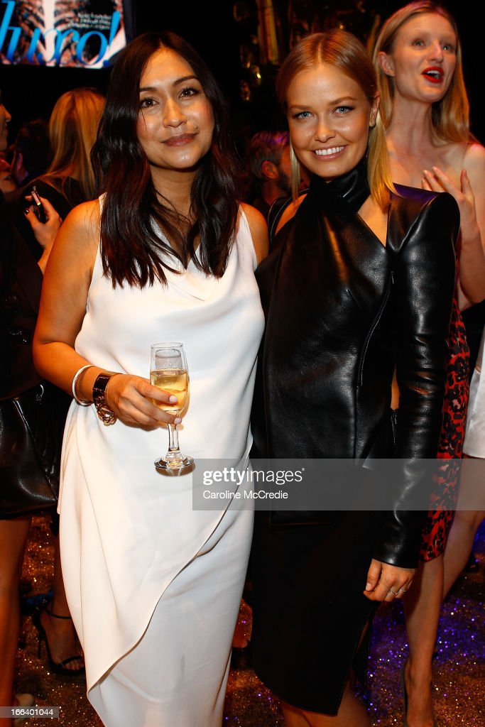 <a gi-track='captionPersonalityLinkClicked' href=/galleries/search?phrase=Lara+Bingle&family=editorial&specificpeople=553554 ng-click='$event.stopPropagation()'>Lara Bingle</a> (R) and Justine Cullen attend the Hello Elle Australia show after party during Mercedes-Benz Fashion Week Australia Spring/Summer 2013/14 at Carriageworks on April 12, 2013 in Sydney, Australia.