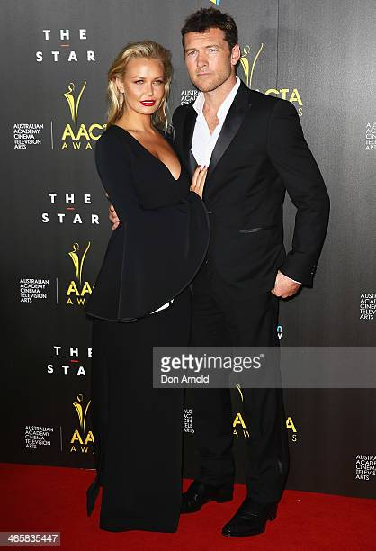 Lara Bingle and Sam Worthington arrive at the 3rd Annual AACTA Awards Ceremony at The Star on January 30 2014 in Sydney Australia