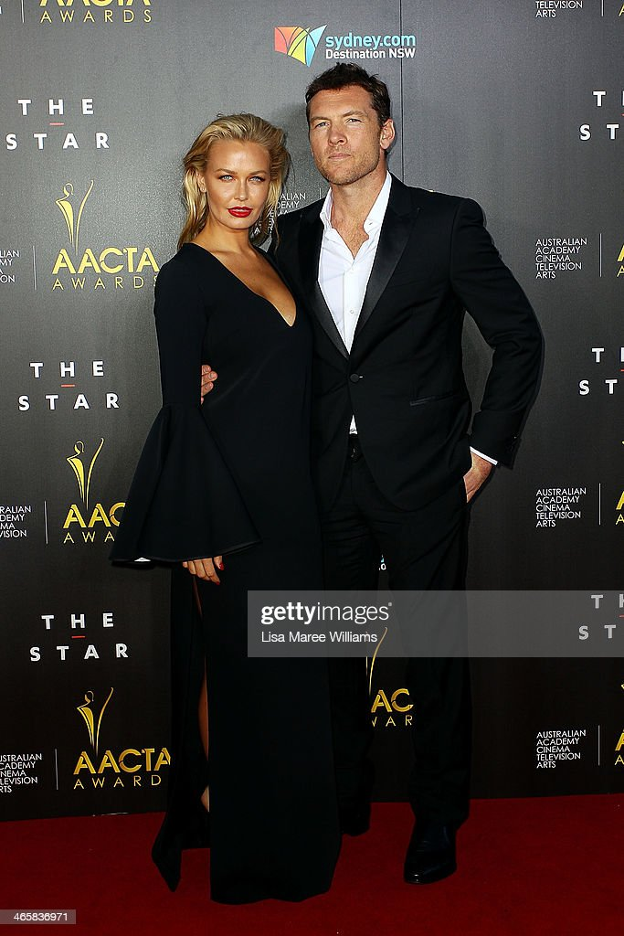 <a gi-track='captionPersonalityLinkClicked' href=/galleries/search?phrase=Lara+Bingle&family=editorial&specificpeople=553554 ng-click='$event.stopPropagation()'>Lara Bingle</a> and <a gi-track='captionPersonalityLinkClicked' href=/galleries/search?phrase=Sam+Worthington&family=editorial&specificpeople=2594426 ng-click='$event.stopPropagation()'>Sam Worthington</a> arrive at the 3rd Annual AACTA Awards Ceremony at The Star on January 30, 2014 in Sydney, Australia.