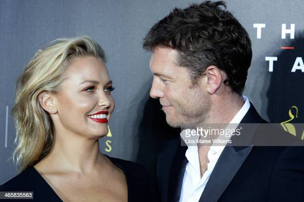 Lara Bingle and Sam Worthington arrives at the 3rd Annual AACTA Awards Ceremony at The Star on January 30 2014 in Sydney Australia