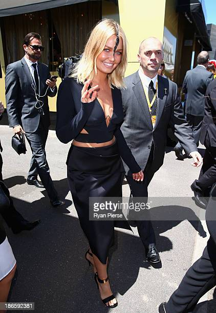 Lara Bingle arrives on Victoria Derby Day at Flemington Racecourse on November 2 2013 in Melbourne Australia