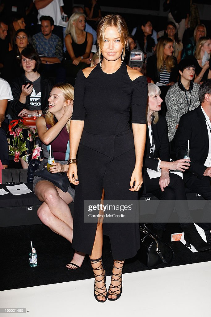 Lara Bingle attends the Camilla and Marc show during Mercedes-Benz Fashion Week Australia Spring/Summer 2013/14 at Carriageworks on April 8, 2013 in Sydney, Australia.