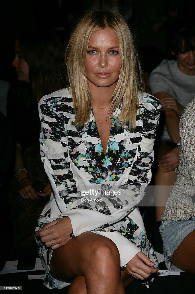 Lara Bingle attends the front row of the Ksubi collection show on the fourth day of Rosemount Australian Fashion Week Spring/Summer 2010/11 offsite...