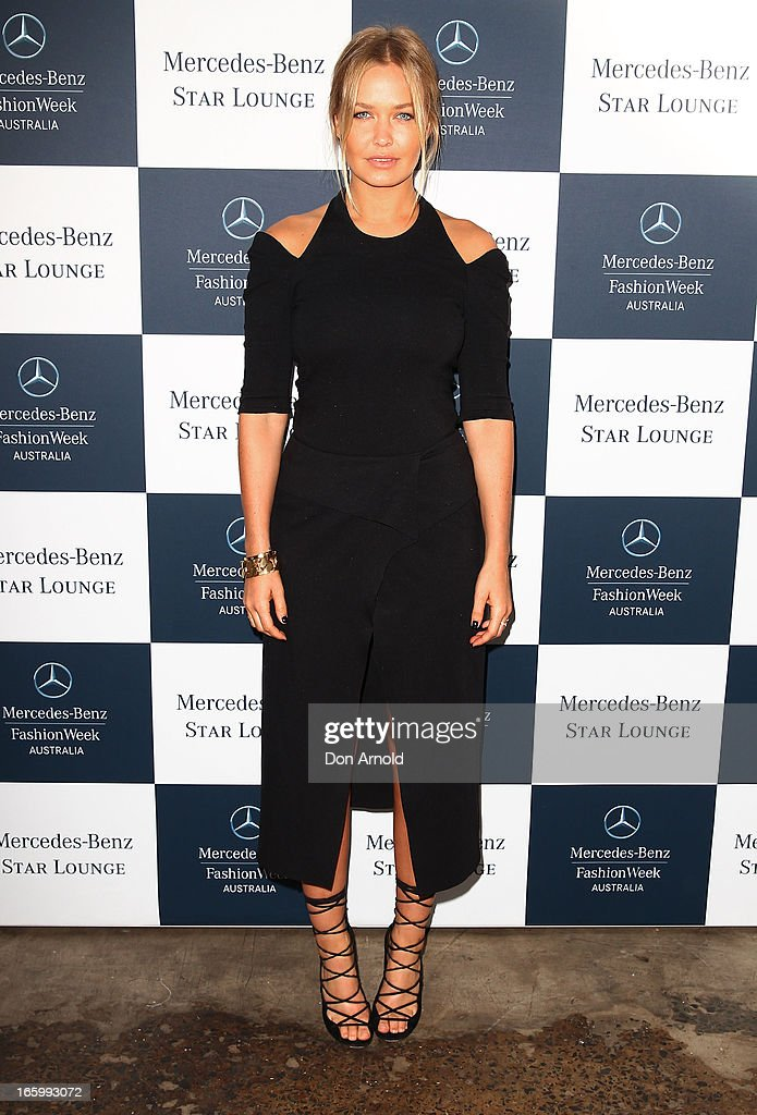 Lara Bingle poses during Mercedes-Benz Fashion Week Australia Spring/Summer 2013/14 at Carriageworks on April 8, 2013 in Sydney, Australia.