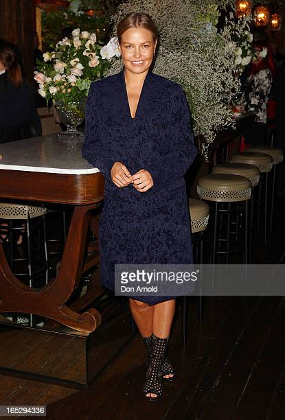 Lara Bingle poses during the Rebecca Vallance Spring/Summer 2013 season launch at Ananas on April 3 2013 in Sydney Australia