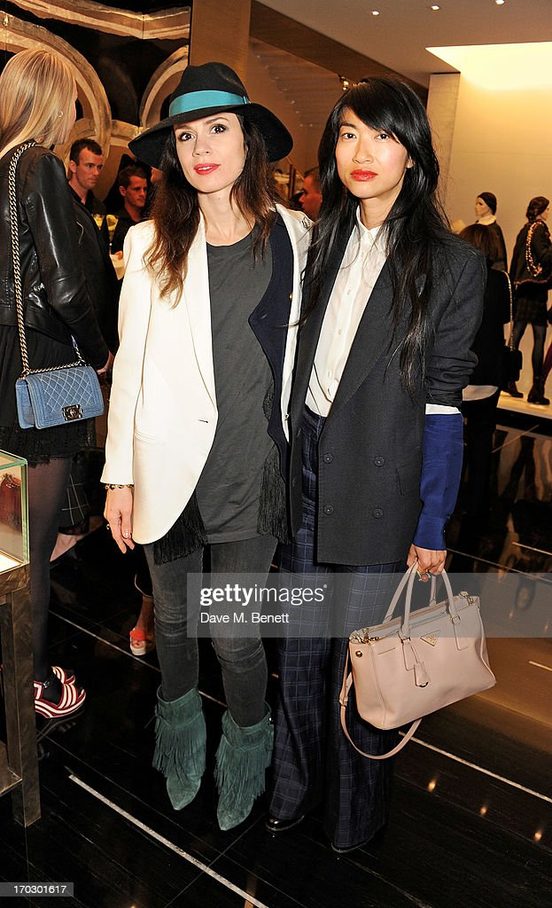 Lara Bohinc (L) and guest attend a private view of the new CHANEL flagship boutique on New Bond Street on June 10, 2013 in London, England.