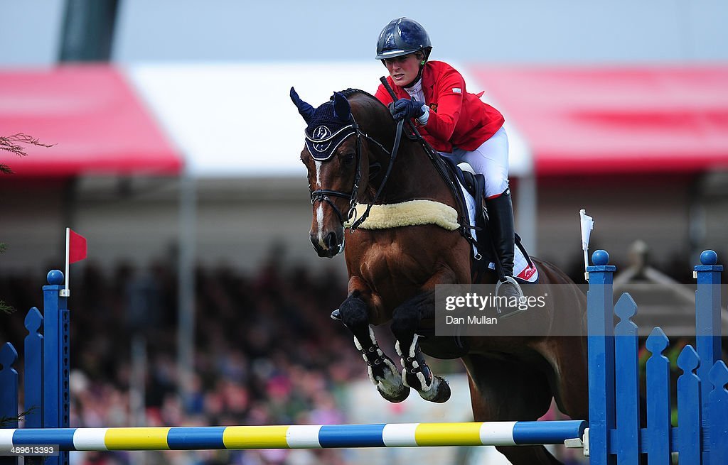 Lara de Liedekerke of Belgium riding Ducati Van Den Overdam during the Show Jumping on day five of the Badminton Horse Trials on May 11, 2014 in Badminton, England.