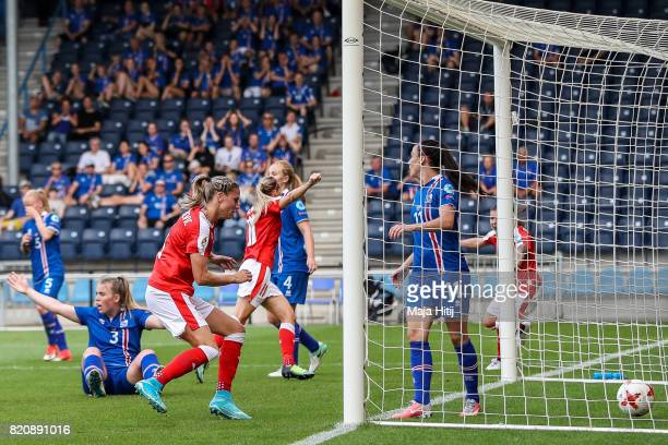 Lara Dickenmann of Switzerland celebrates scoring her sides first goal during the UEFA Women's Euro 2017 Group C match between Iceland and...