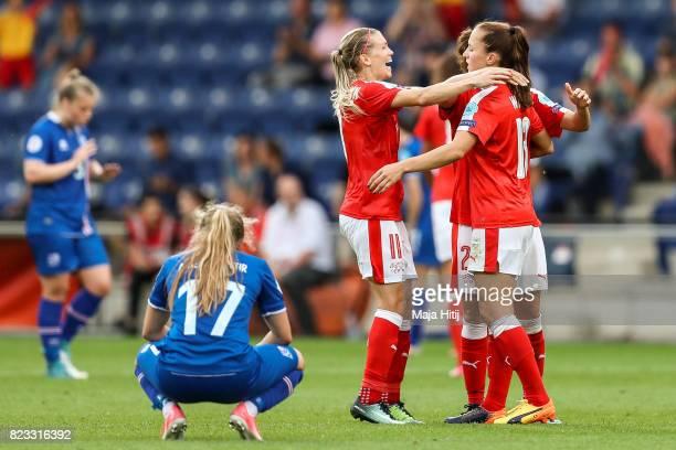 Lara Dickenmann of Switzerland Jana Brunner and Lia Waelti react after the UEFA Women's Euro 2017 Group C match between Iceland and Switzerland at...