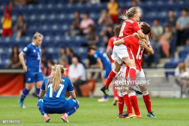 Lara Dickenmann of Switzerland Vanessa Bernauer and Lia Waelti react after the UEFA Women's Euro 2017 Group C match between Iceland and Switzerland...